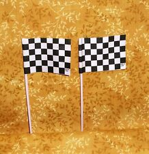 Racing Checkered Flags, Cupcake Picks,Plastic,Bakery Crafts,Black,White,12 ct.