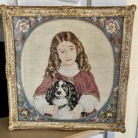 Antique Portrait Victorian Girl and Dog in Needlepoint Framed