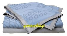 Yves Delorme Calligraphie Blue Queen Flat Sheet Platine Grey Cotton NEW $460