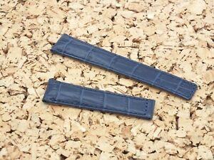 Genuine Leather Croc Grain Deployment Watch Strap 22mm Ink Blue Fit TAG Heuer