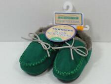 New Boy's SKIDDERS Green Suede & Gray Fur Moccasins Shoes, Sz 4 ~ 12 Months