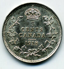 CANADA KING GEORGE V 1918 FIVE CENTS UNC.