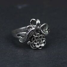 Genuine 925 Sterling Silver Fish & Lotus Flower Ring Adjustable Buddhism