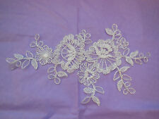 An ivory bridal floral lace Applique / wedding lace motif for sale.Sold by piece
