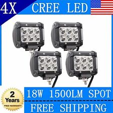 4x 18W Cree Led Work Lights Pods Spot Offroad Lamp For ATV JEEP UTE 4inch Cube