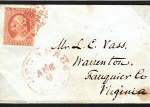 USA Scott#10 Cover RARE Use GB Patent Embossed Registered Envelope 1855 S22b