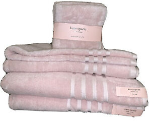 Kate Spade Home  Bathroom Bath Towel Set Solid Pink 8 pcs Set Harrington New