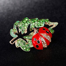 Brooch Pin Dress Scarf Jewelry Gift Km_ Its- Women Rhinestone Ladybird On Leaf