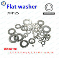 DIN125 Stainless Steel Flat Plain Washers M1.6 M2 M2.5 M3 M4 M5 M6 M8 M10 M12