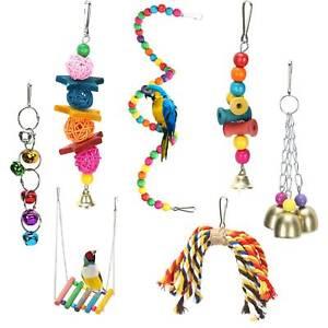 7 Pcs Beaks Metal Rope Small Parrot Budgie Cockatiel Cage Bird Toys Set UK