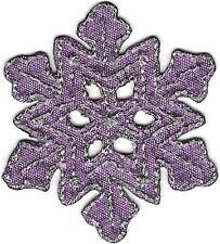 "1 3/4"" x 2"" Winter Shiny Metallic Silver Purple Snowflake Patch"