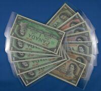 1954  Canadian Bills -  $1  $2  $5  $10  $20  $50  $100 -  Plus 5  1967 -  Bills