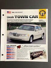 "1998 > Lincoln Town Car Sedan IMP ""Hot Cars"" Spec Sheet Folder Brochure Awesome"