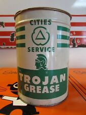 NOS Vintage Nice Cities Service Trojan Grease Can * H-2 * 5 Pounds