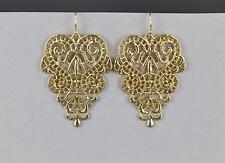 Gold filigree cut out teardrop medallion dangle earrings 2 inches long