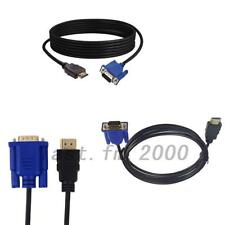 New 1.8M HDMI Gold Male To VGA HD-15 Male 15Pin Adapter Cable 6FT 1080P