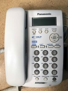 LOT of 2 - Panasonic KX-TSC14W Conference calling 2-line Corded Phone Telephone