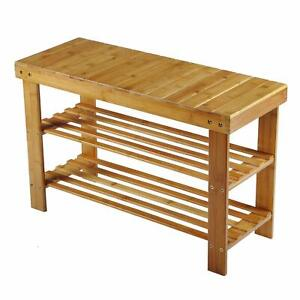 3 Tier Bamboo Shoe Rack and Bench