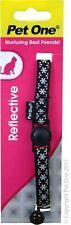 Pet One Collar Cat/Kitten Nylon Reflective Black with bell 10mm - Aussie Seller
