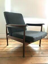 Guy Rogers Manhattan Chair Vintage Armchair Teak 1960s Reupholstered Grey