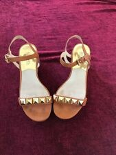 GORGEOUS Michael Kors 6.5 Brown Leather Studded Cork Wedge Sandals Heels Shoes