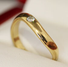 Estate age 14ct gold and single stone diamond wedding band, engagement ring.