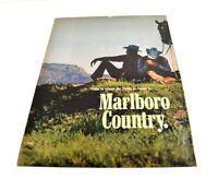 "Marlboro Country Two Cowboys Relaxing Hills Horse 1 of 2 Print Ad 13.5""x10"" AN"