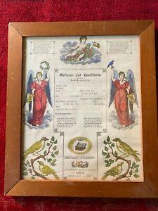 Large Framed 1875 Geburts und Taufschein German Birth Baptism Pennsylvania