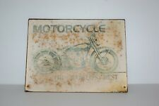 """Motorcycle The World's Best""  Retro Vintage METAL SIGN WALL PLAQUE art print"
