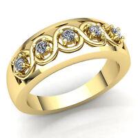 0.5ctw Round Cut Diamond Ladies Interwoven 5Stone Wedding Band 10K Gold