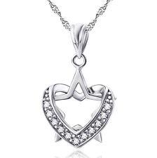 925 Sterling Silber Stern im Herz weiße Kristalle Liebe Halskette Anhänger