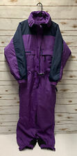Vintage Womens Columbia Ski Snow Suit Purple Belted Zipper 90's SZ Large LN