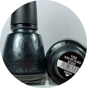 China Glaze Nail Polish Kiss My Glass 1228 Metallic Blue Gunmetal Grey Shimmer