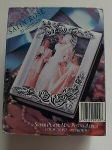 Vintage Silverplated Table-Top Satin Rose Mini Photo Album Holds100 4 x 6 Photos