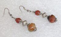 Vintage Genuine Brown Green Gemstone Silver Tone Drop Pierced Earrings