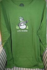 "NWT!!   LIFE IS GOOD WOMENS L/S  CRUSHER  TEE   "" SNOWMAN CANDY CANE"" (XXL)"