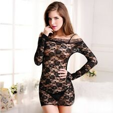 Women Sexy Lace Long Sleeve Dress Babydoll & G-String Lingerie - USA Seller