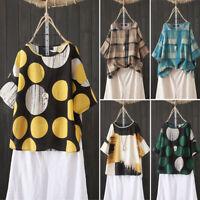 ZANZEA 8-24 Women Summer Short Sleeve Printed Vintage Top Tee T Shirt Blouse HOT