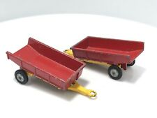 1969 Husky Models Tipping Farm Trailer #8 #58 Gt. Britain Red/Yellow Lot Of 2