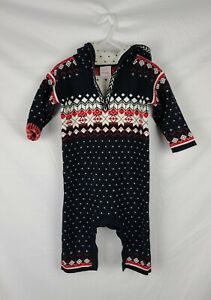 Hanna Andersson Baby Printed Knit Hooded Romper sz 12-18 mos