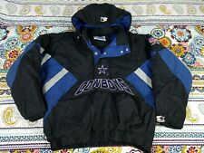 Dallas Cowboys Starter Pro Line Hoodie Puffer Anorak Jacket Mens Sz S/M Big Logo