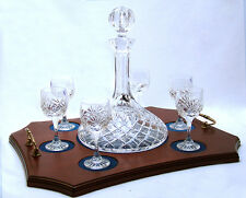 SHIPS DECANTER 6 GLASSES TRAY SET Lead Crystal Glass Port Presentation Gift NEW