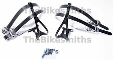 Black Road Bike MEDIUM Toe Clips & Black Leather Double Straps Track Fixed Gear