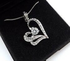 4 x Boxed Silver Crystal Heart Necklaces BRIDESMAIDS GIFT Present WEDDING UK
