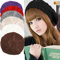 Winter Warm Women Beret Knitted Baggy Beanie Hat Multicolor Ski Cap