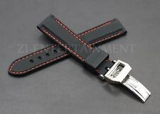 20MM Rubber Strap Band Black Red + Deployment Buckle Clasp Fits For IWC PILOT