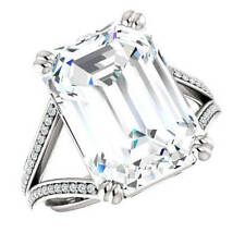 8 Ct Near White Emerald Cut Moissanite Engagement Ring 10K White Gold All Size