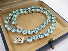 Wow Antique Art Deco Solid Sterling Silver Blue Paste Rhinestone Choker Necklace