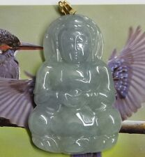 18K Certified Natural Untreated Icy Lavender Green Jadeite JADE Kwan-yin Pendant
