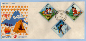 POSTAL HISTORY  FIFST DAY COVER  BHUTAN  BOY SCOUTS 1967 ILLUSTRATED
